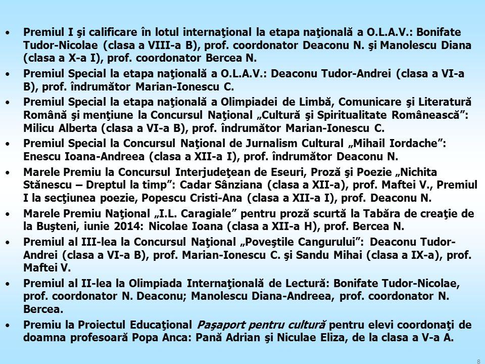 Premiul I şi calificare în lotul internaţional la etapa naţională a O.L.A.V.: Bonifate Tudor-Nicolae (clasa a VIII-a B), prof. coordonator Deaconu N.