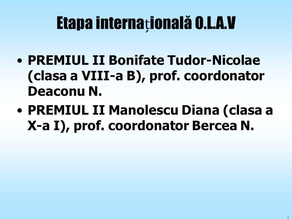 Etapa internaională O.L.A.V PREMIUL II Bonifate Tudor-Nicolae (clasa a VIII-a B), prof. coordonator Deaconu N. PREMIUL II Manolescu Diana (clasa a X-a