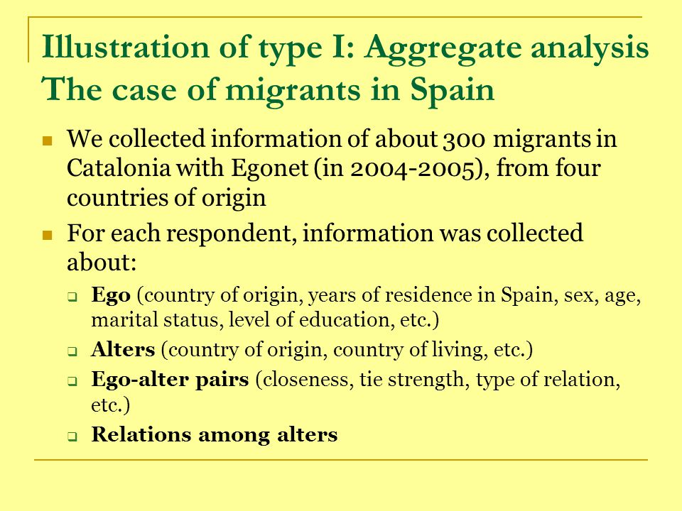 Illustration: The case of migrants in Spain Our research questions were:  Can we distinguish different types of personal networks (profiles) among migrants.