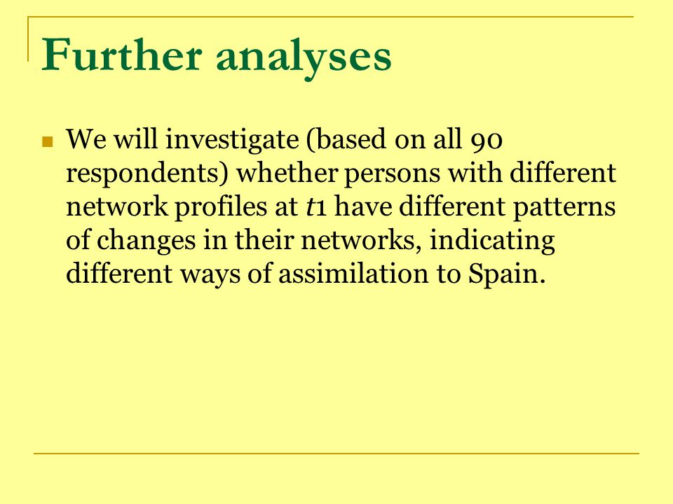 Further analyses We will investigate (based on all 90 respondents) whether persons with different network profiles at t1 have different patterns of changes in their networks, indicating different ways of assimilation to Spain.