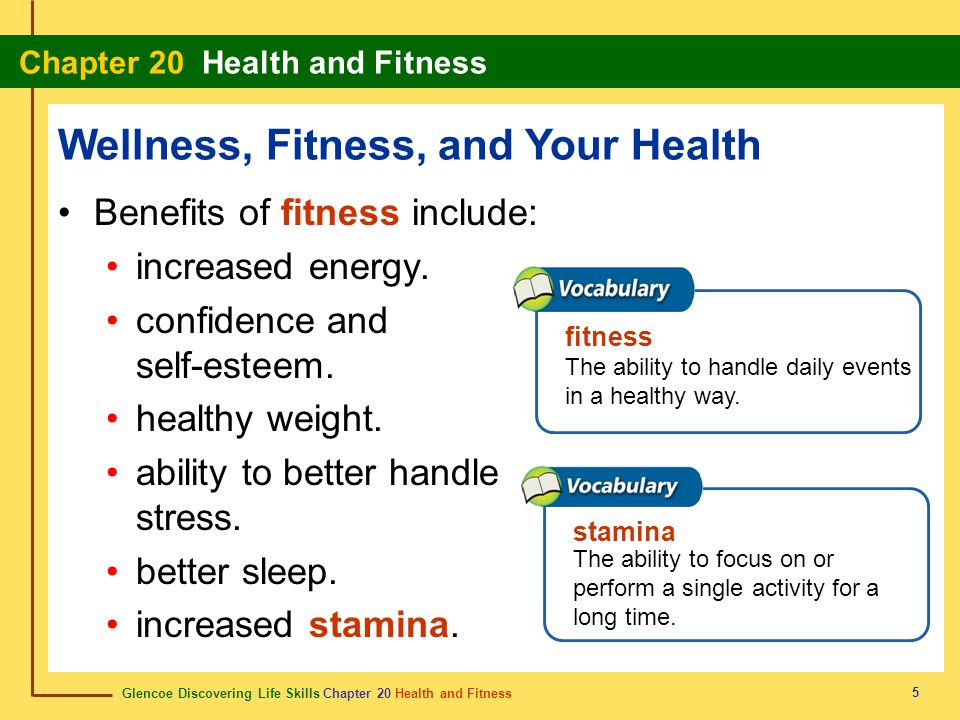 Glencoe Discovering Life Skills Chapter 20 Health and Fitness Chapter 20 Health and Fitness 16 Chapter Summary Section 20.1 Physical Activity Wellness is taking positive steps toward your good health.