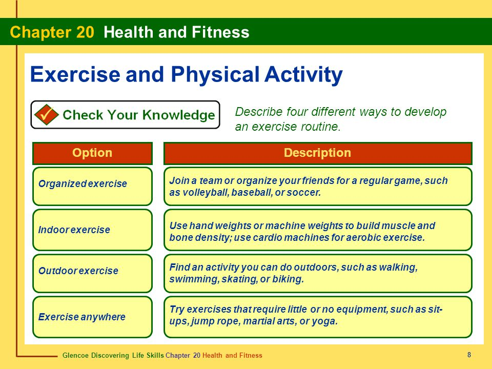 Glencoe Discovering Life Skills Chapter 20 Health and Fitness Chapter 20 Health and Fitness 19 fitness estado de salud The ability to handle daily events in a healthy way.
