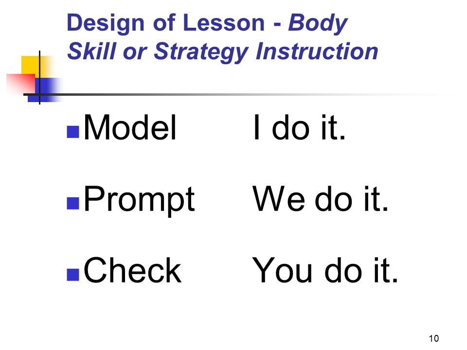 10 Design of Lesson - Body Skill or Strategy Instruction ModelI do it. PromptWe do it. CheckYou do it.