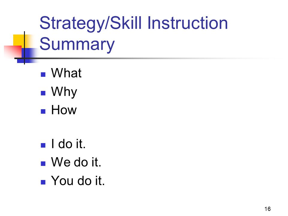 16 Strategy/Skill Instruction Summary What Why How I do it. We do it. You do it.