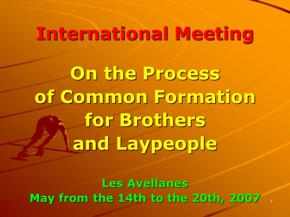 1 International Meeting On the Process of Common Formation for Brothers and Laypeople Les Avellanes May from the 14th to the 20th, 2007