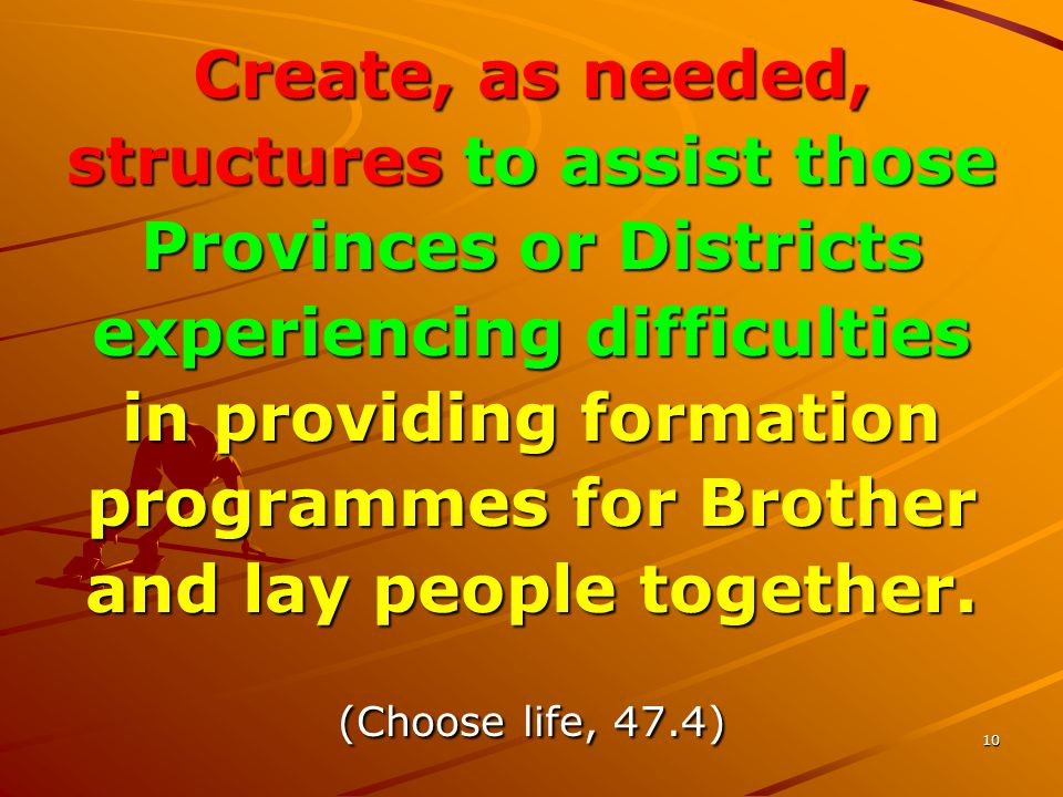 10 Create, as needed, structures to assist those Provinces or Districts experiencing difficulties in providing formation programmes for Brother and lay people together.