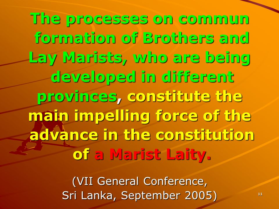 11 The processes on commun formation of Brothers and formation of Brothers and Lay Marists, who are being developed in different developed in different provinces, constitute the main impelling force of the advance in the constitution advance in the constitution of a Marist Laity.