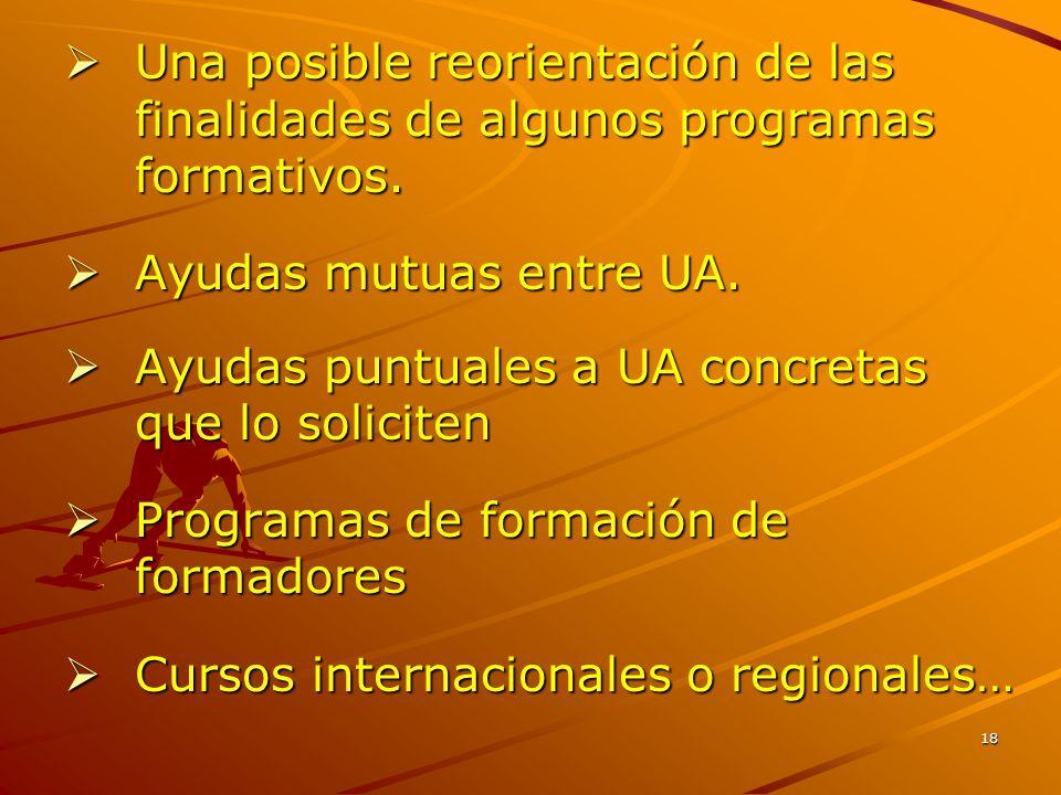 18  Una posible reorientación de las finalidades de algunos programas formativos.