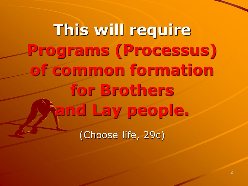 5 This will require Programs (Processus) of common formation for Brothers and Lay people. (Choose life, 29c)