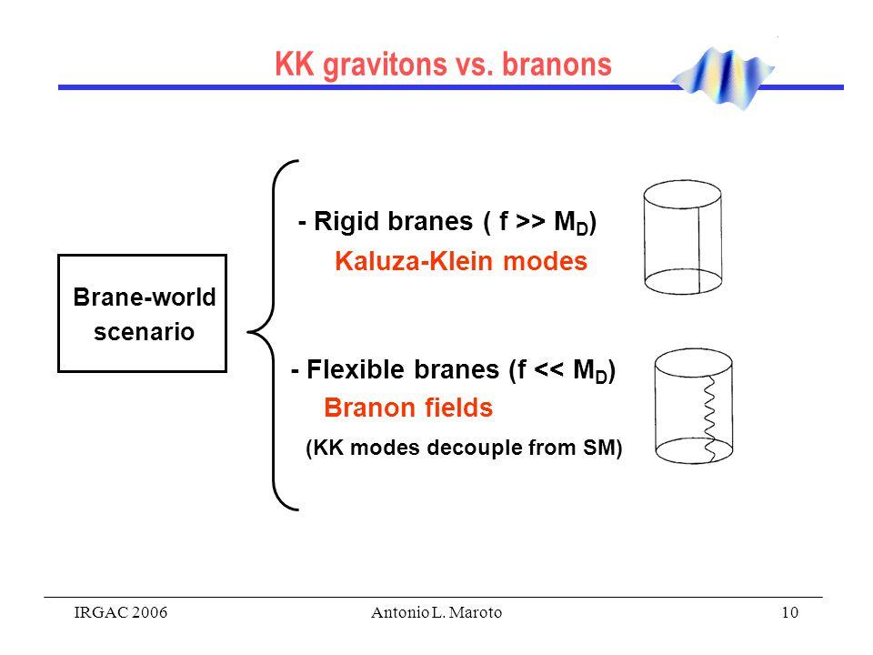 IRGAC 2006Antonio L. Maroto10 - Rigid branes ( f >> M D ) Kaluza-Klein modes Brane-world scenario - Flexible branes (f << M D ) Branon fields (KK mode
