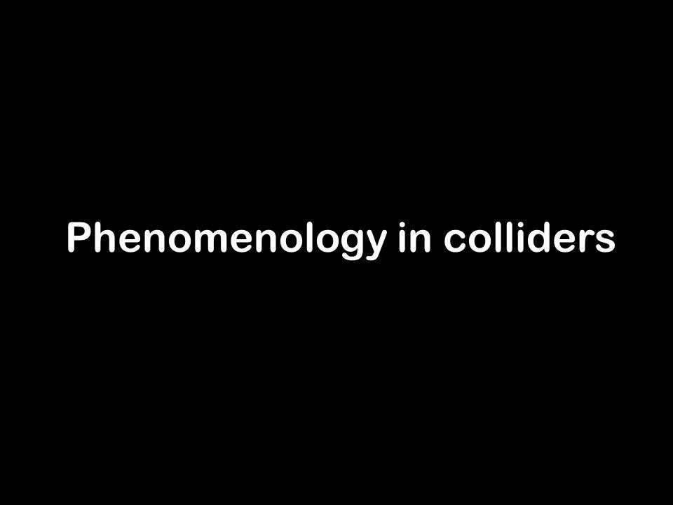 IRGAC 2006Antonio L. Maroto11 Phenomenology in colliders