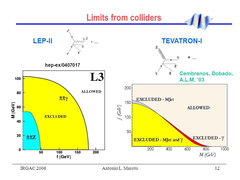 IRGAC 2006Antonio L. Maroto12 Induced metric on the brane: Dirac - Nambu - Goto action: Branon action Limits from colliders LEP-II... TEVATRON-I +...