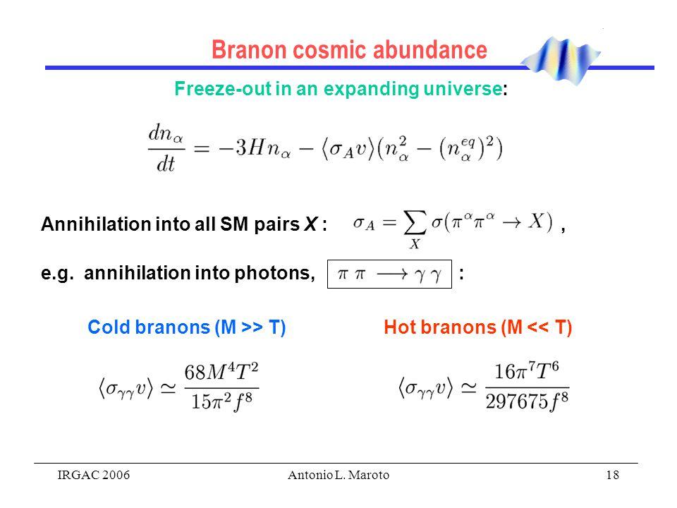 IRGAC 2006Antonio L. Maroto18 Branon cosmic abundance Freeze-out in an expanding universe: Annihilation into all SM pairs X :, e.g. annihilation into