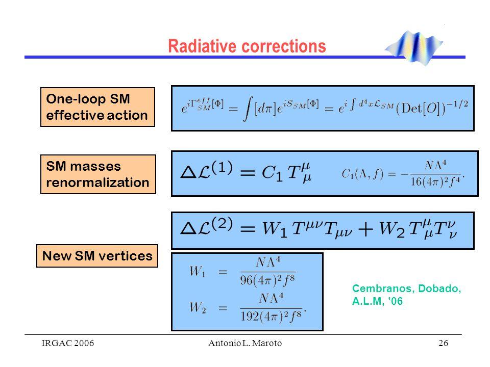 IRGAC 2006Antonio L. Maroto26 Radiative corrections Cembranos, Dobado, A.L.M, '06 One-loop SM effective action SM masses renormalization New SM vertic