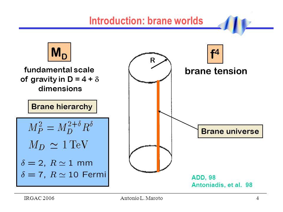 IRGAC 2006Antonio L. Maroto4 Introduction: brane worlds R fundamental scale of gravity in D = 4 +  dimensions brane tension Brane universe Brane hier