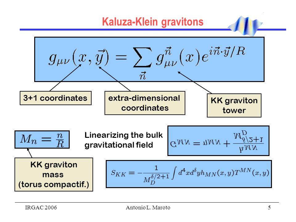 IRGAC 2006Antonio L. Maroto5 Kaluza-Klein gravitons 3+1 coordinatesextra-dimensional coordinates KK graviton tower Linearizing the bulk gravitational