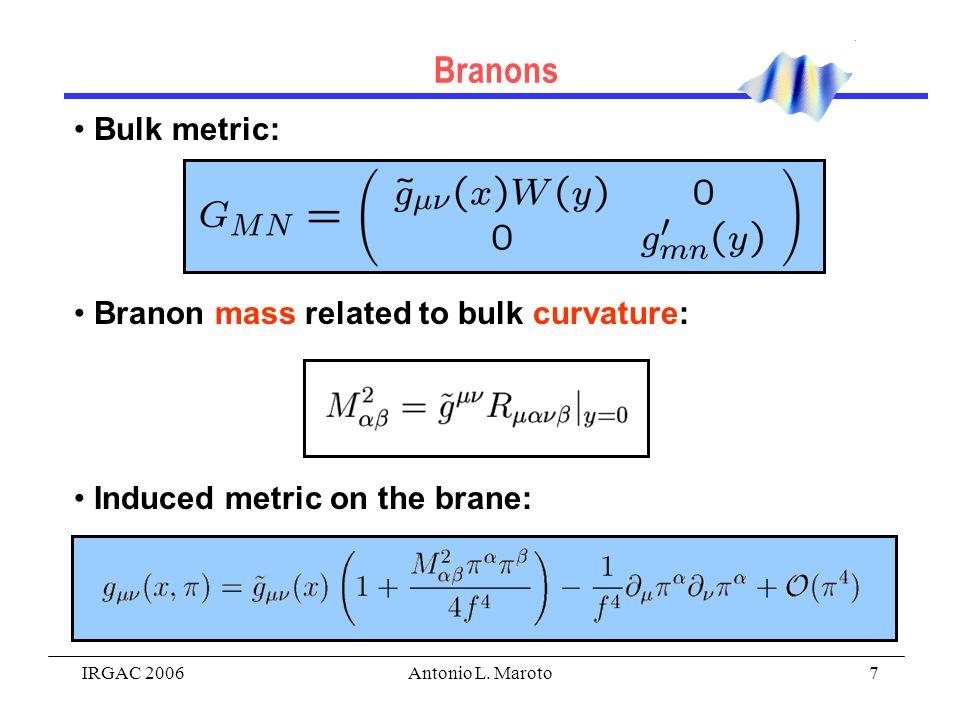 IRGAC 2006Antonio L. Maroto7 Bulk metric: Branon mass related to bulk curvature: Induced metric on the brane: Branons