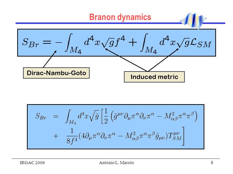 IRGAC 2006Antonio L. Maroto8 Branon dynamics Dirac-Nambu-Goto Induced metric