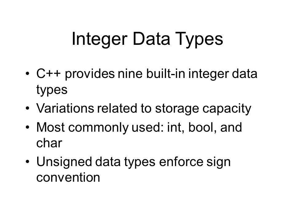 Built-in Data Types Two categories of data types –Built-in (primitive or atomic) such as int or float –Class (user or programmer-defined)