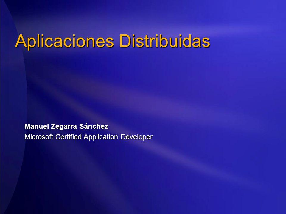 Aplicaciones Distribuidas Manuel Zegarra Sánchez Microsoft Certified Application Developer