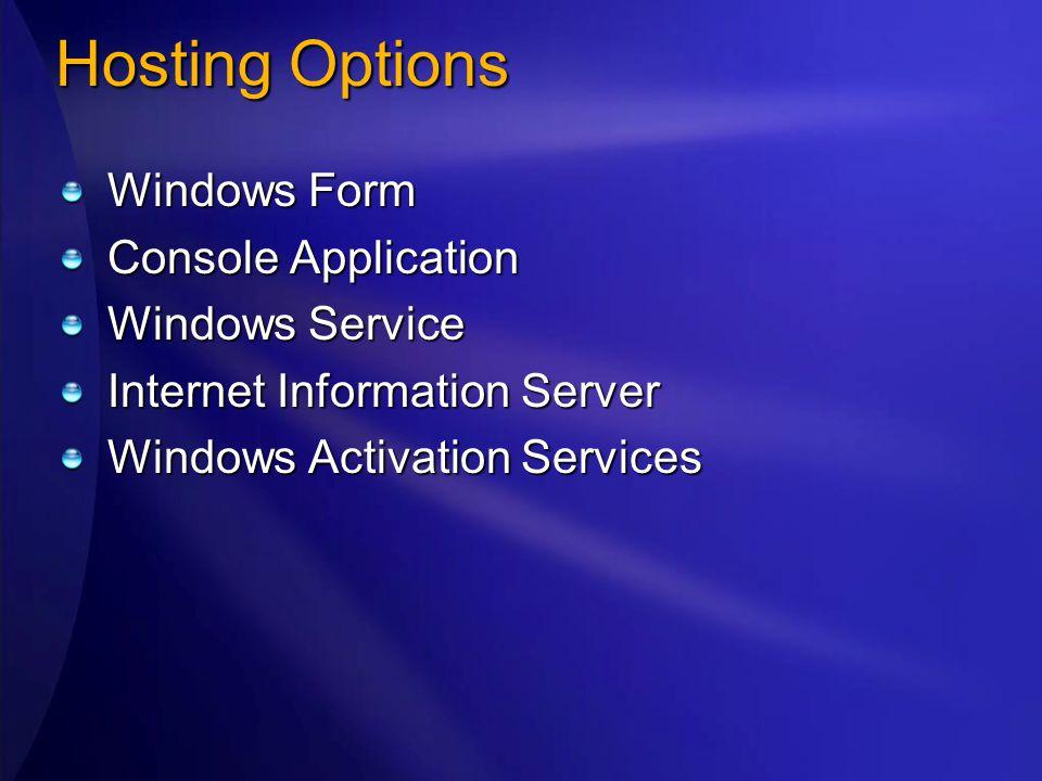 Hosting Options Windows Form Console Application Windows Service Internet Information Server Windows Activation Services