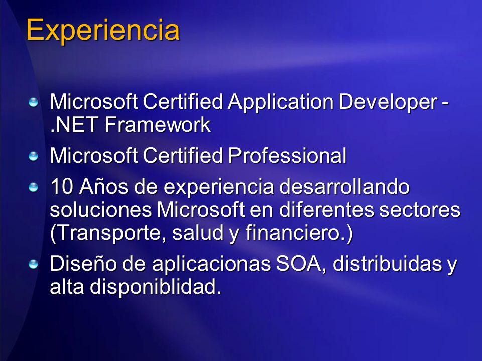 Microsoft Certified Application Developer -.NET Framework Microsoft Certified Professional 10 Años de experiencia desarrollando soluciones Microsoft en diferentes sectores (Transporte, salud y financiero.) Diseño de aplicacionas SOA, distribuidas y alta disponiblidad.