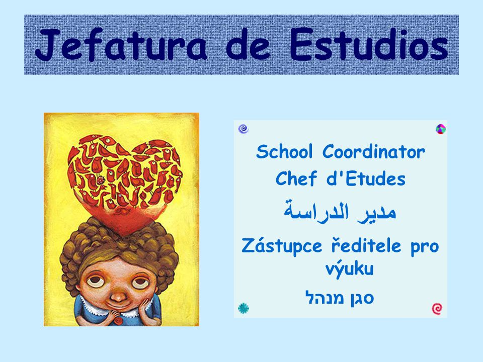 Jefatura de Estudios School Coordinator Chef d Etudes مدير الدراسة Zástupce ředitele pro výuku סגן מנהל