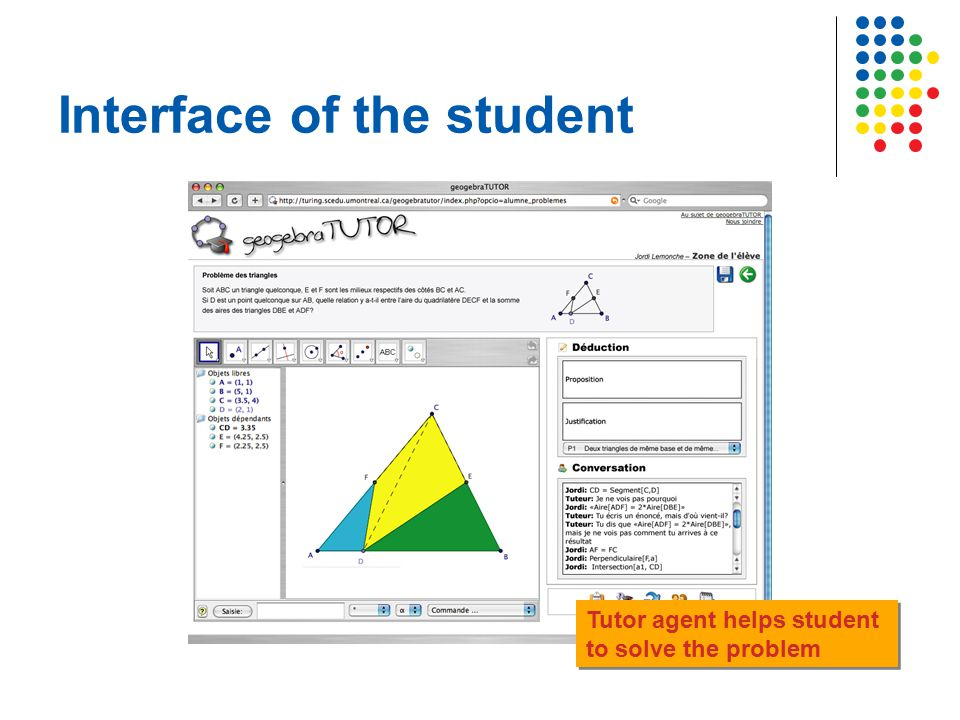 Interface of the student Tutor agent helps student to solve the problem