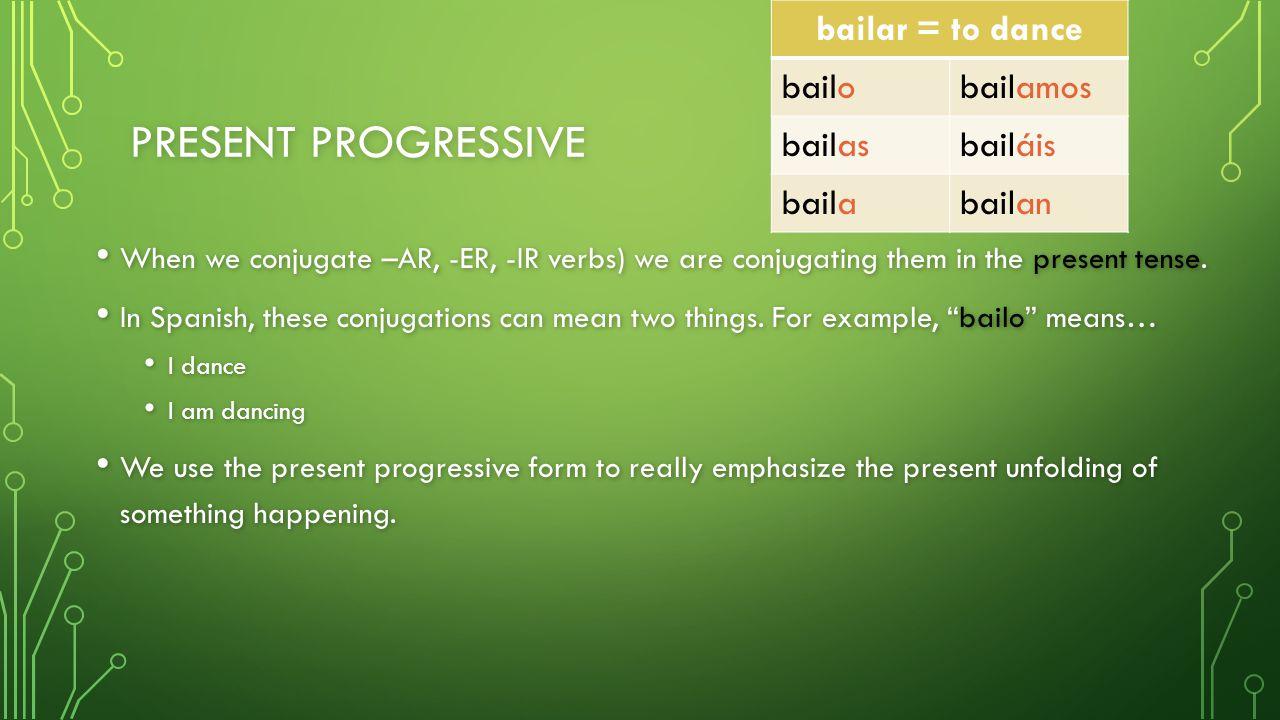 PRESENT PROGRESSIVE When we conjugate –AR, -ER, -IR verbs) we are conjugating them in the present tense. When we conjugate –AR, -ER, -IR verbs) we are