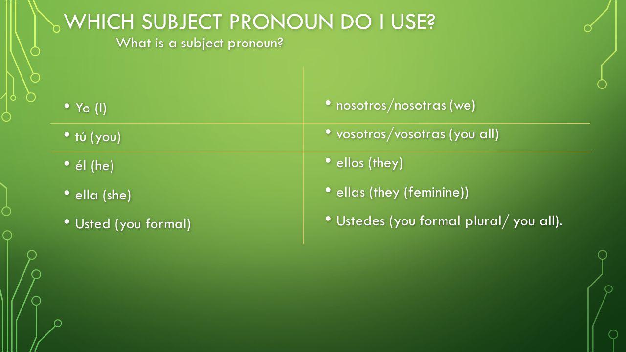 WHICH SUBJECT PRONOUN DO I USE? Yo (I) Yo (I) tú (you) tú (you) él (he) él (he) ella (she) ella (she) Usted (you formal) Usted (you formal) nosotros/n