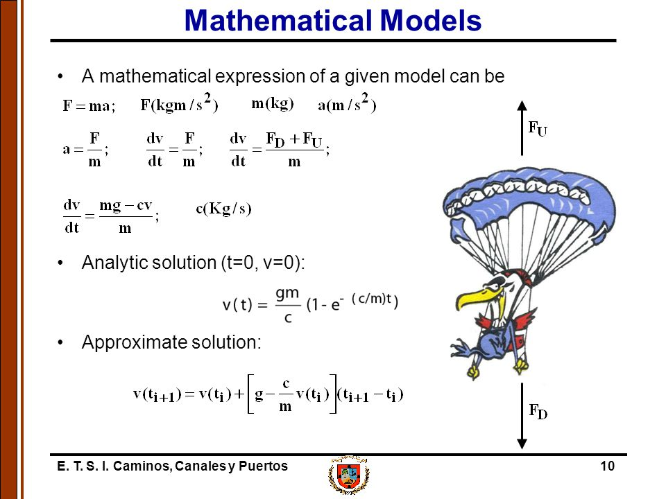 E. T. S. I. Caminos, Canales y Puertos10 Mathematical Models A mathematical expression of a given model can be Analytic solution (t=0, v=0): Approxima