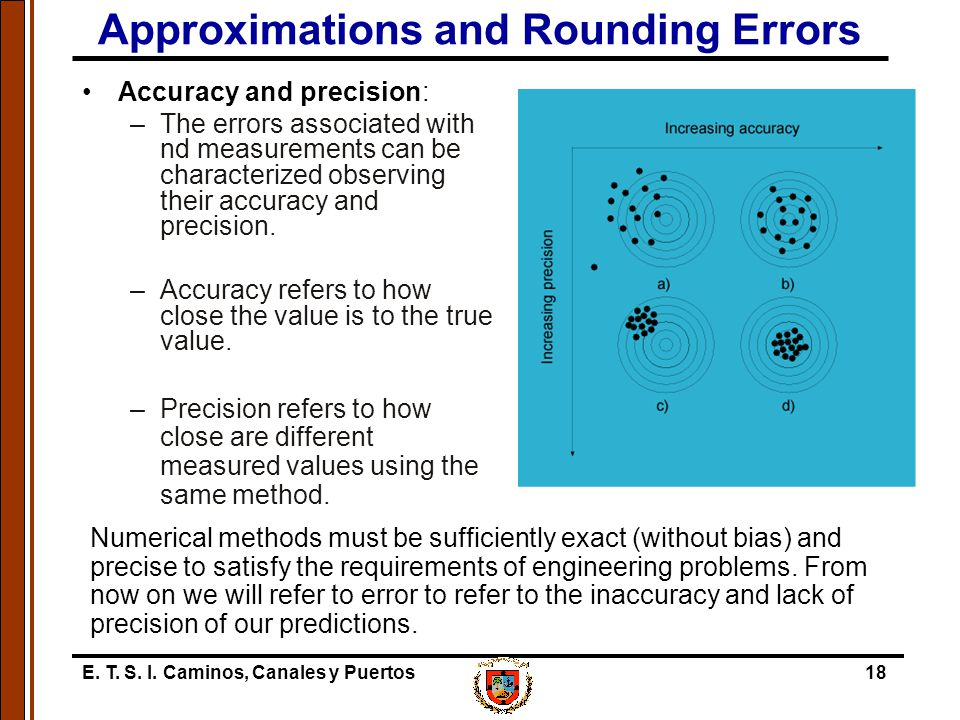 E. T. S. I. Caminos, Canales y Puertos18 Approximations and Rounding Errors Accuracy and precision: –The errors associated with nd measurements can be