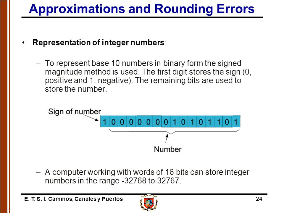E. T. S. I. Caminos, Canales y Puertos24 Approximations and Rounding Errors Representation of integer numbers: –To represent base 10 numbers in binary