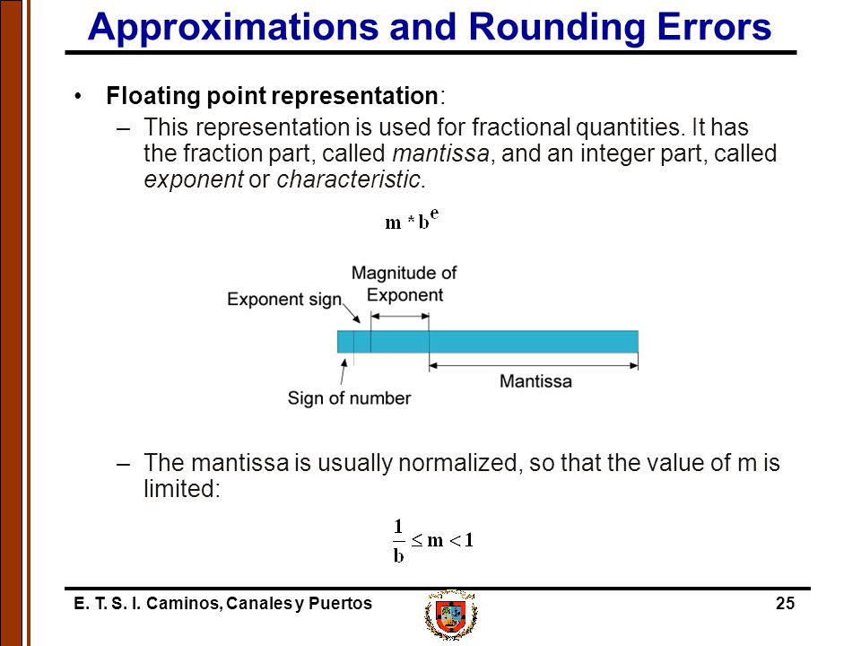 E. T. S. I. Caminos, Canales y Puertos25 Approximations and Rounding Errors Floating point representation: –This representation is used for fractional