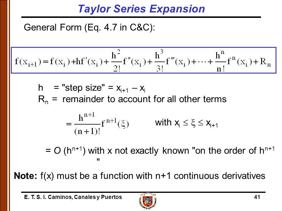 E. T. S. I. Caminos, Canales y Puertos41 General Form (Eq. 4.7 in C&C): h =