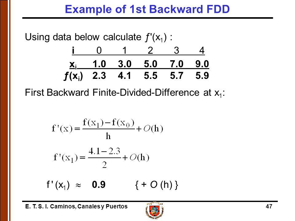 E. T. S. I. Caminos, Canales y Puertos47 Using data below calculate ƒ'(x 1 ) : i01234 x i 1.03.05.07.09.0 ƒ(x i )2.34.15.55.75.9 First Backward Finite