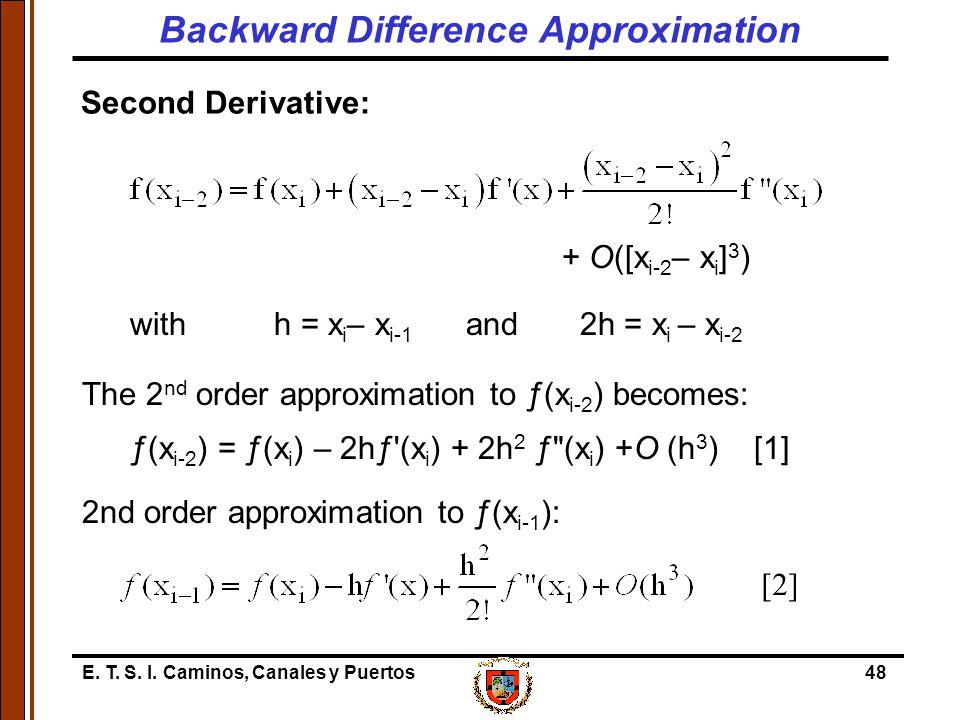 E. T. S. I. Caminos, Canales y Puertos48 Second Derivative: + O([x i-2 – x i ] 3 ) withh = x i – x i-1 and 2h = x i – x i-2 The 2 nd order approximati