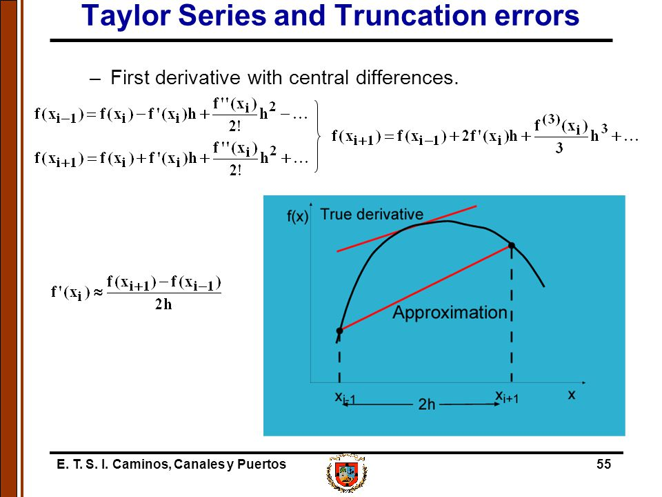 E. T. S. I. Caminos, Canales y Puertos55 Taylor Series and Truncation errors –First derivative with central differences.