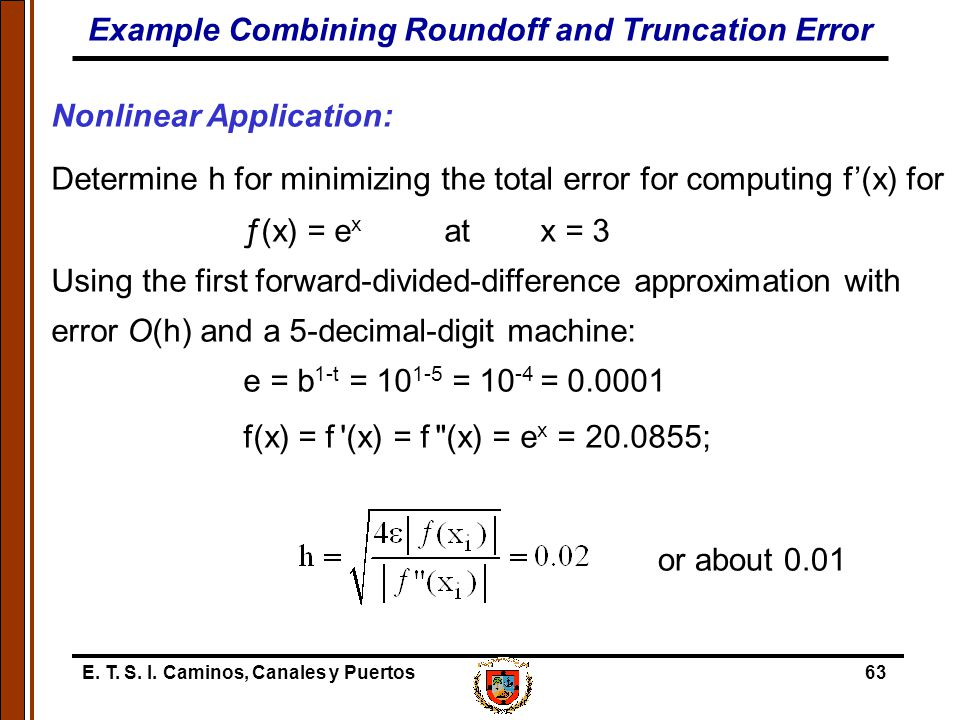 E. T. S. I. Caminos, Canales y Puertos63 Nonlinear Application: Determine h for minimizing the total error for computing f'(x) for ƒ(x) = e x at x = 3