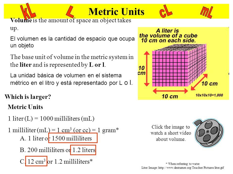 Metric Units Volume is the amount of space an object takes up. El volumen es la cantidad de espacio que ocupa un objeto The base unit of volume in the
