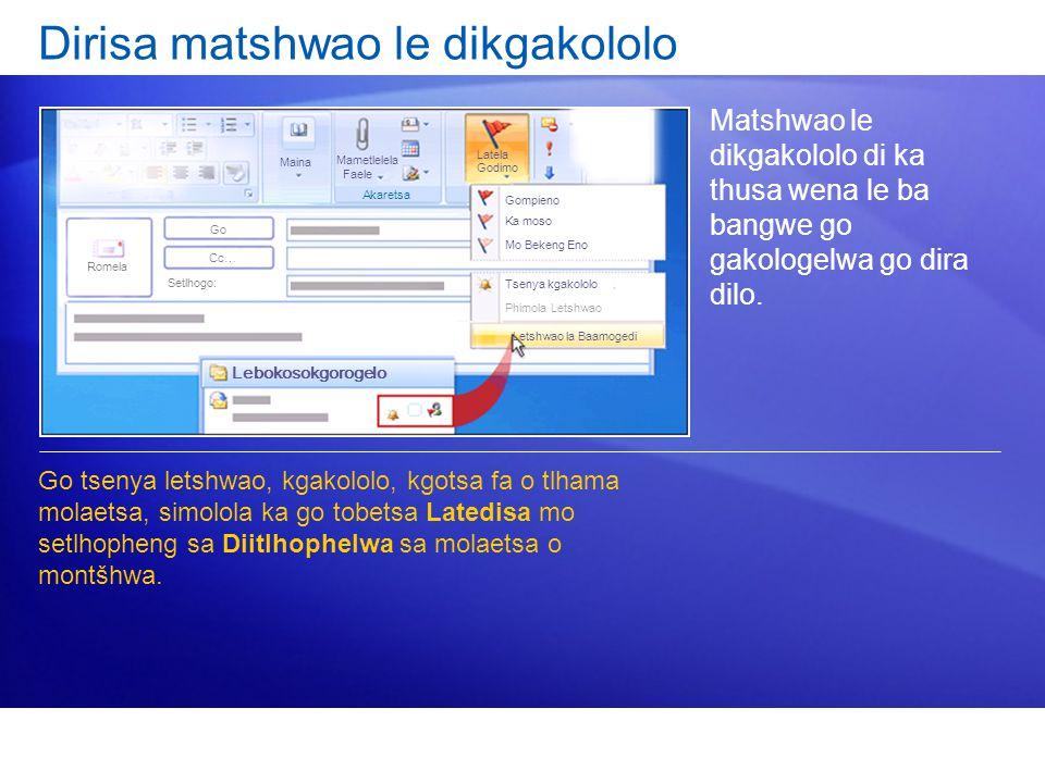 Dirisa matshwao le dikgakololo Matshwao le dikgakololo di ka thusa wena le ba bangwe go gakologelwa go dira dilo. Go tsenya letshwao, kgakololo, kgots