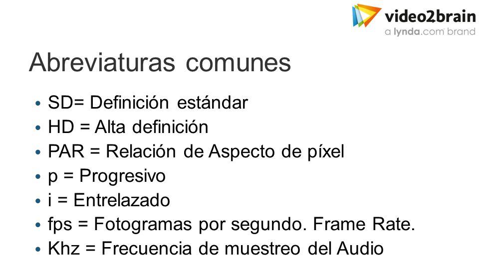 Abreviaturas comunes SD= Definición estándar HD = Alta definición PAR = Relación de Aspecto de píxel p = Progresivo i = Entrelazado fps = Fotogramas por segundo.