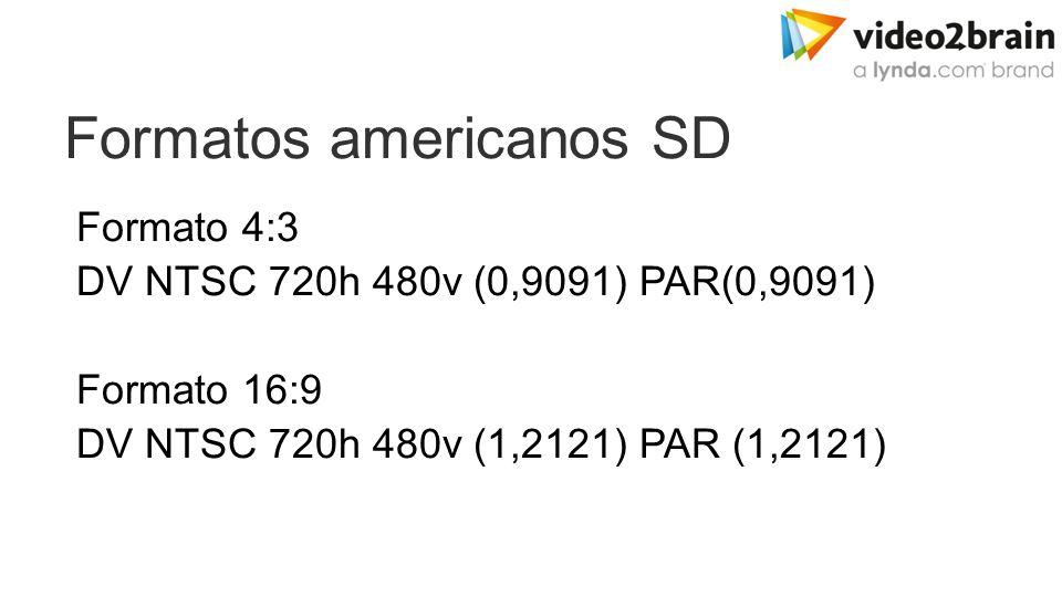 Formatos americanos SD Formato 4:3 DV NTSC 720h 480v (0,9091) PAR(0,9091) Formato 16:9 DV NTSC 720h 480v (1,2121) PAR (1,2121)