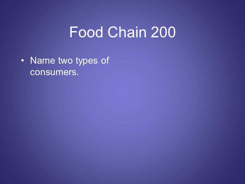 Food Chain 200 Name two types of consumers.