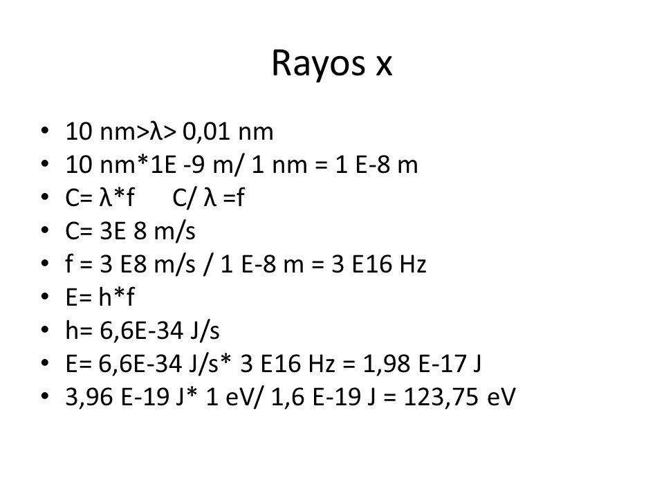 Rayos x 10 nm>λ> 0,01 nm 10 nm*1E -9 m/ 1 nm = 1 E-8 m C= λ*f C/ λ =f C= 3E 8 m/s f = 3 E8 m/s / 1 E-8 m = 3 E16 Hz E= h*f h= 6,6E-34 J/s E= 6,6E-34 J/s* 3 E16 Hz = 1,98 E-17 J 3,96 E-19 J* 1 eV/ 1,6 E-19 J = 123,75 eV