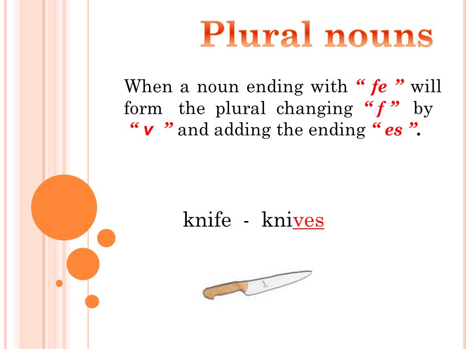 When a noun ending with fe will form the plural changing f by v and adding the ending es .