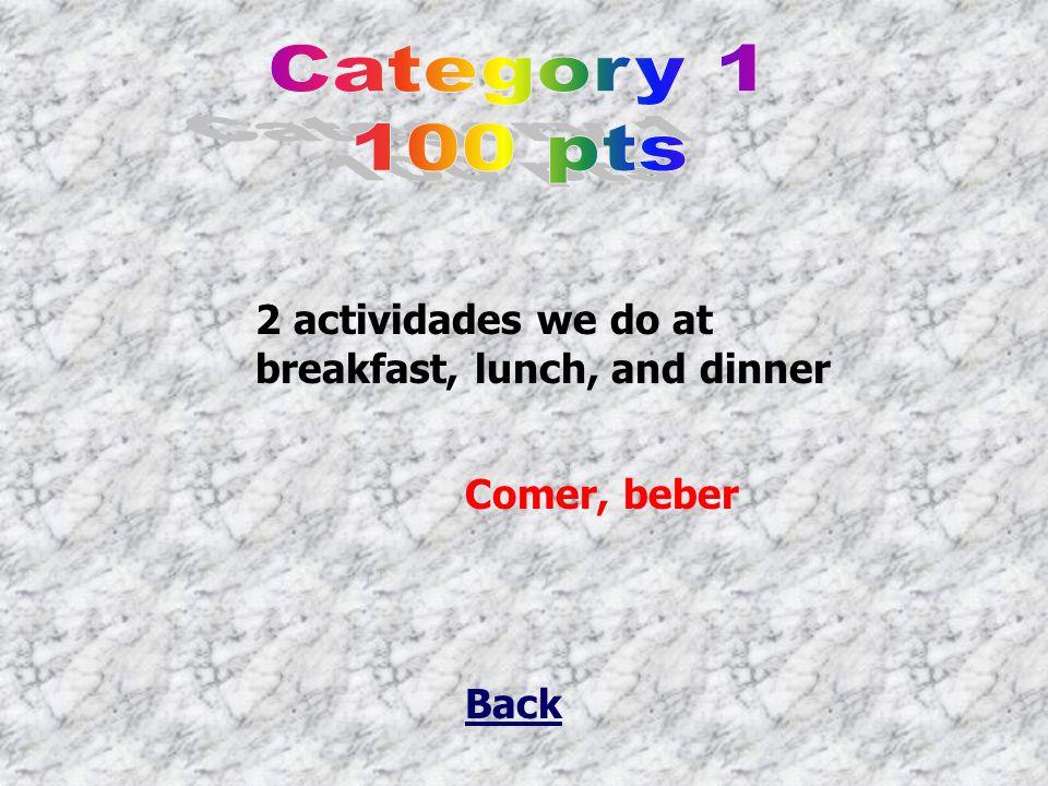 Back 2 actividades we do at breakfast, lunch, and dinner Comer, beber