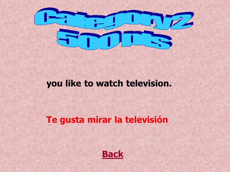 Back you like to watch television. Te gusta mirar la televisión