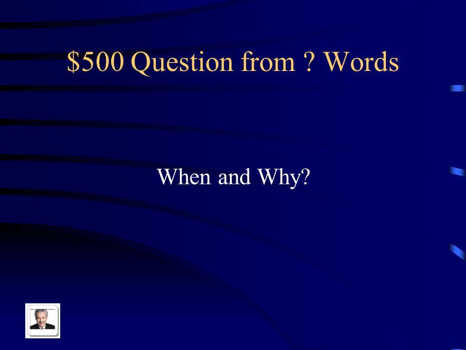 $400 Answer from Words ¿De dónde eres