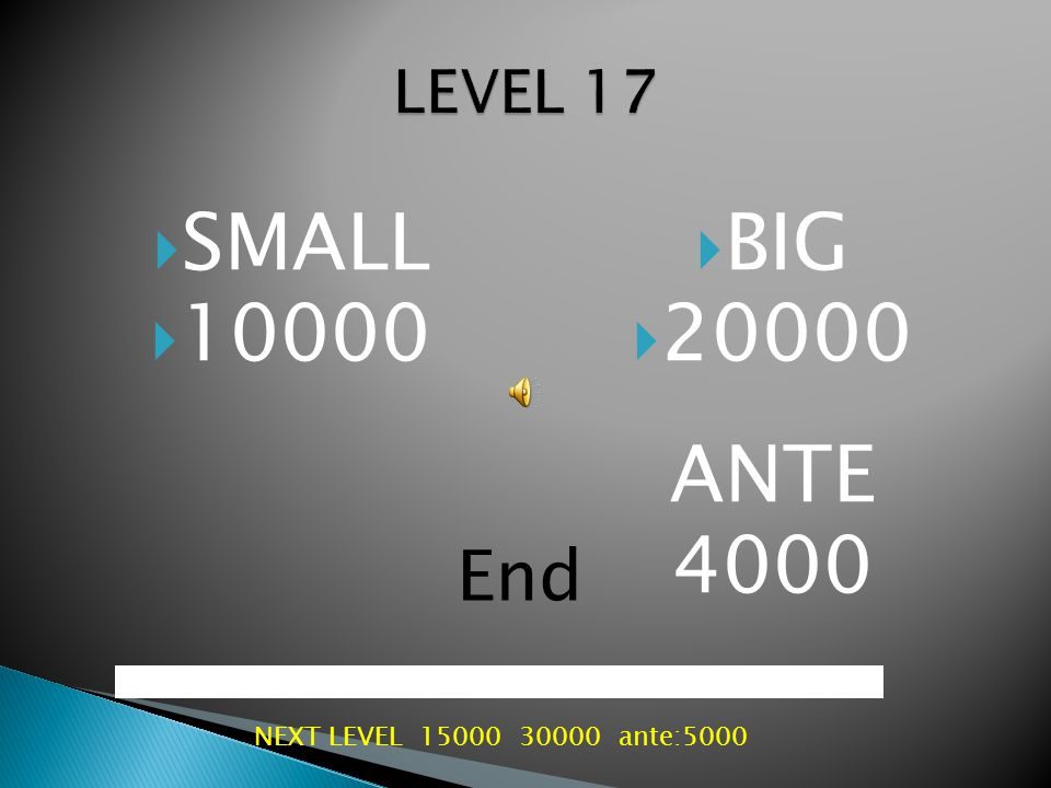  SMALL  8000  BIG  16000 ANTE 3000 End NEXT LEVEL 10000 20000 ante:40000